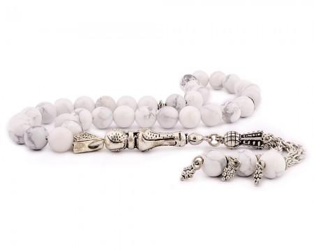 Tesbihane - Kararmaz Metal Püsküllü Küre Kesim Beyaz Havlit Taşı Tesbih