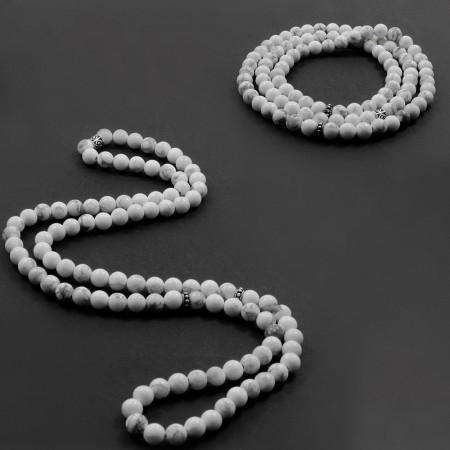 Tesbihane - Hem Bileklik - Hem Küre Kesim 99'lu Beyaz Havlit Doğaltaş Tesbih