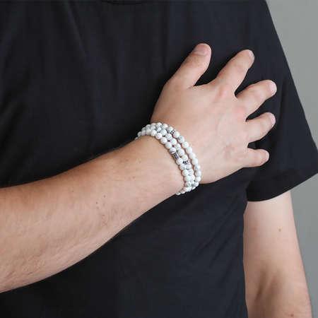 Hem Bileklik - Hem Küre Kesim 99'lu Beyaz Havlit Doğaltaş Tesbih - Thumbnail