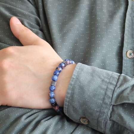 Özel Kutu Hediyeli Küre Kesim Mavi Lapis-Hematit Doğaltaş Bileklik - Thumbnail