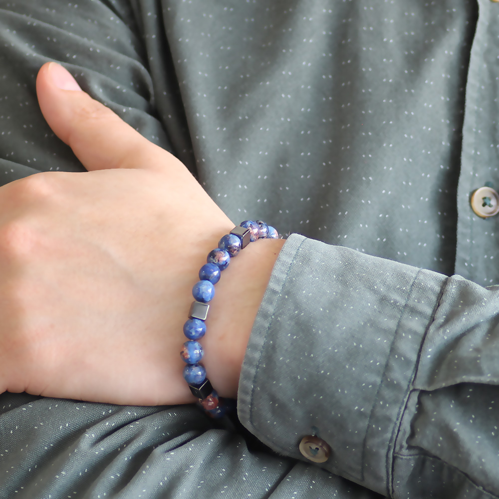 Özel Kutu Hediyeli Küre Kesim Mavi Lapis-Hematit Doğaltaş Bileklik