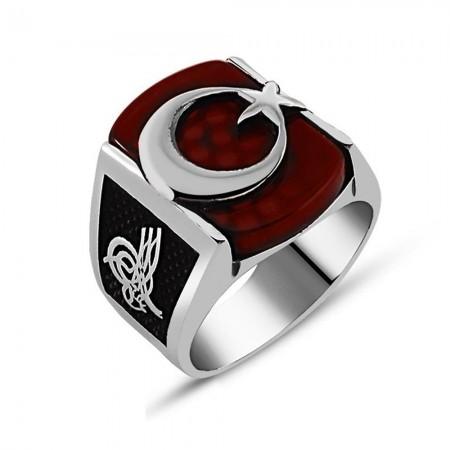 Tesbihane - Hilal Yüzüğü - 925 Ayar Gümüş Kırmızı Akik Üzerine Ay Yıldız Yüzük