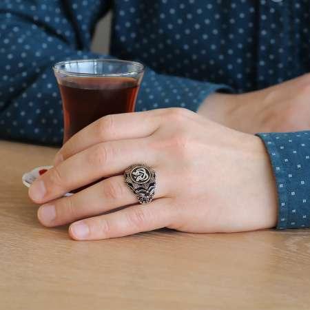 Hüdhüd Kuşu Motifli Sekiz Köşeli 925 Ayar Gümüş Erkek Yüzük - Thumbnail