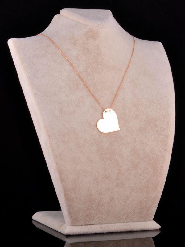 İki İsimli Plaka Kalp Kolye (Parlak)