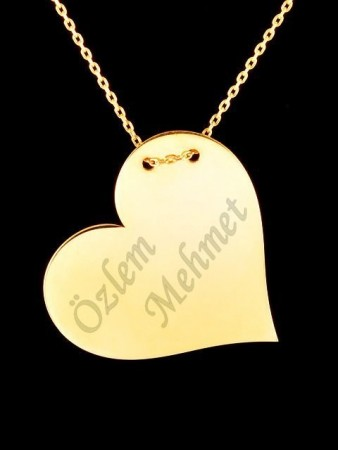 İki İsimli Plaka Kalp Kolye (Parlak) Sarı - Thumbnail
