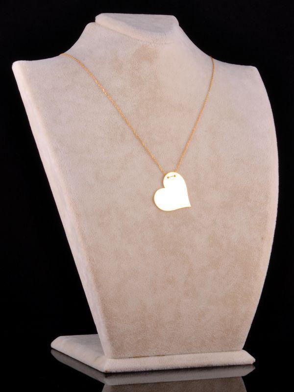 İki İsimli Plaka Kalp Kolye (Parlak) Sarı