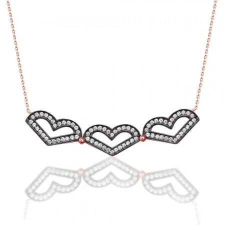 - İki Kullanımlı 925 Ayar Gümüş Üç Kalp Taşlı Rose Kolye