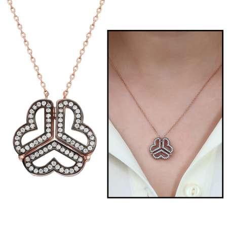 Tesbihane - Beyaz Zirkon Taşlı İki Kullanımlı Üç Kalp 925 Ayar Gümüş Bayan Kolye