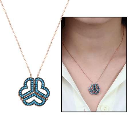 - Turkuaz Taşlı İki Kullanımlı Üç Kalp 925 Ayar Gümüş Bayan Kolye