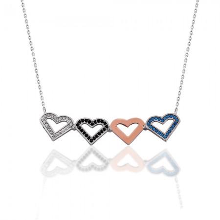 Tesbihane - Renkli Zirkon Taşlı İki Kullanımlı Üç Kalp 925 Ayar Gümüş Bayan Kolye