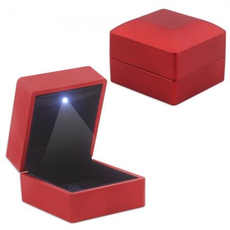 Tesbihane - Işıklı Kırmızı Renk Yüzük/Alyans Kutusu