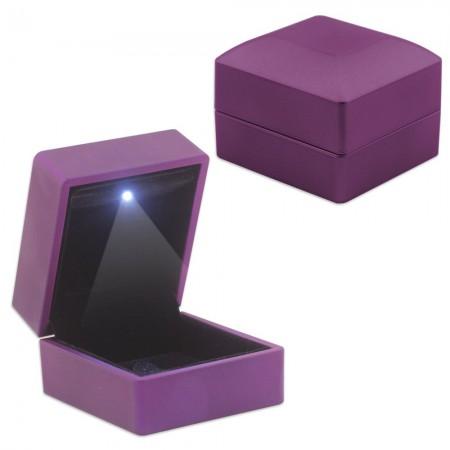 Tesbihane - Işıklı Mor Renk Yüzük/Alyans Kutusu