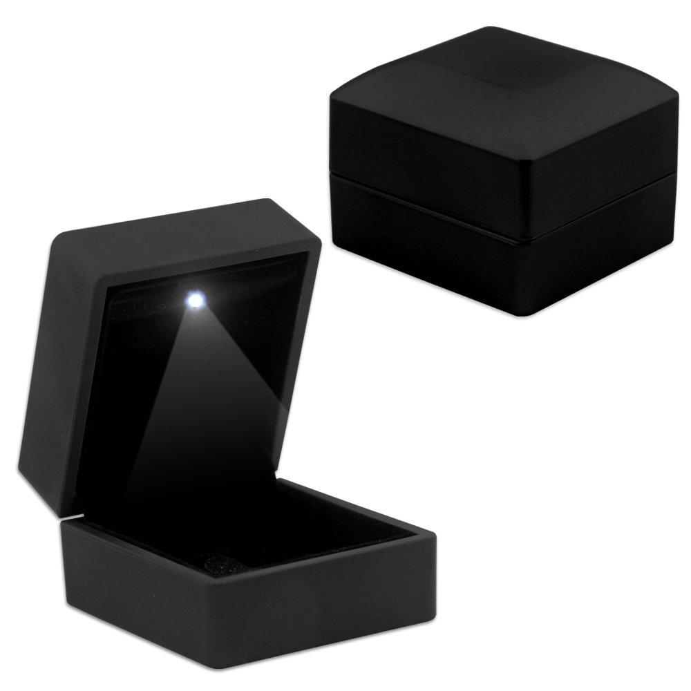 Işıklı Siyah Renk Yüzük/Alyans Kutusu