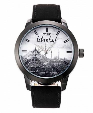 - İstanbul Temalı Özel Tasarım Siyah TH Kol Saati (M-2)
