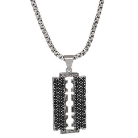 Tesbihane - Jilet Tasarım Siyah Zirkon Taşlı Gümüş Renk Zincir Pirinç Kolye