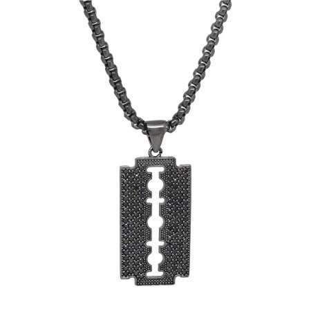 Tesbihane - Jilet Tasarım Siyah Zirkon Taşlı Siyah Renk Zincir Pirinç Kolye