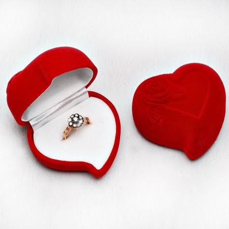 Tesbihane - Kalp Tasarım Kırmızı Renk Kadife Yüzük Kutusu