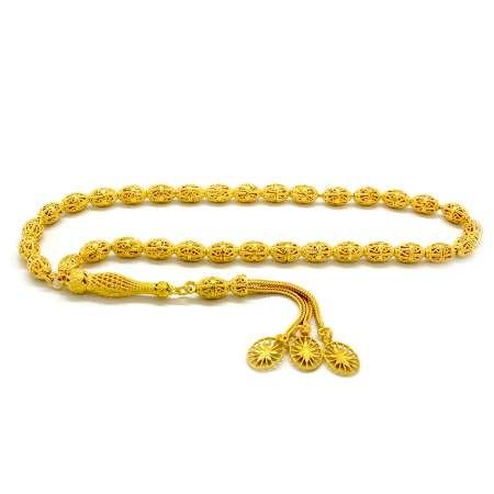 Tesbihane - Kafes Tasarım Gold Renk Arpa Kesim 925 Ayar Gümüş Tesbih (M-1)