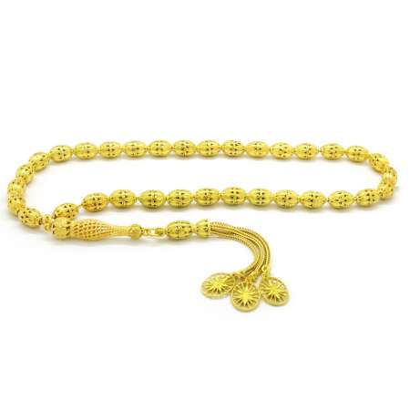 Tesbihane - Kafes Tasarım Gold Renk Arpa Kesim 925 Ayar Gümüş Tesbih (M-2)