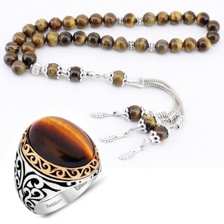 Tesbihane - Kaplan Gözü Doğaltaş Tesbih ve 925 Ayar Gümüş Kaplan Gözü Yüzük