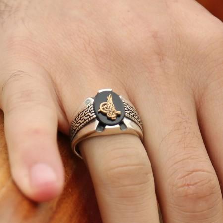 - Kara Murat Yüzüğü - 925 Ayar Gümüş Tuğralı Oniks Taşlı Yüzük