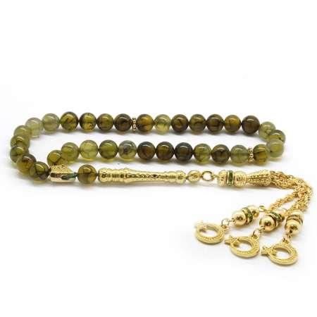 Tesbihane - Kararmaz Metal Gold Püsküllü Küre Kesim Damarlı Yosun Yeşil Akik Doğaltaş Tesbih