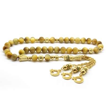 Tesbihane - Kararmaz Metal Gold Püsküllü Küre Kesim Renkli Kaplangözü Doğaltaş Tesbih