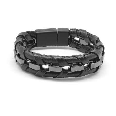 Tesbihane - Kararmaz Metal Örgülü Siyah Deri-Çelik Kombinli Erkek Bileklik
