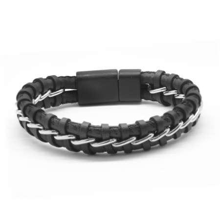 Kararmaz Metal Örgülü Siyah Deri-Çelik Kombinli Erkek Bileklik (M-1) - Thumbnail