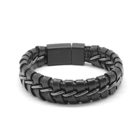 Tesbihane - Kararmaz Metal Örgülü Siyah Deri-Çelik Kombinli Erkek Bileklik (M-2)