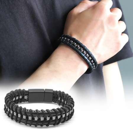 Tesbihane - Kararmaz Metal Tasarım Siyah Deri-Çelik Kombinli Erkek Bileklik