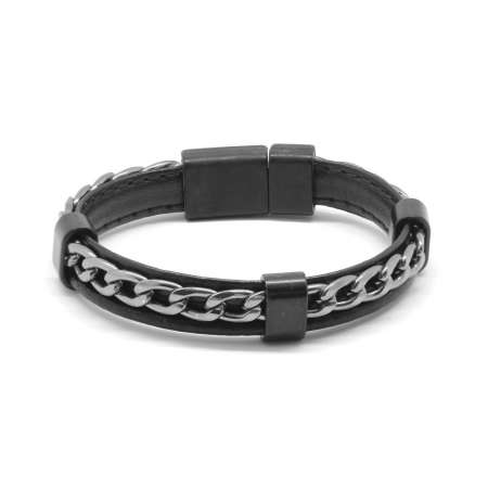 Tesbihane - Kararmaz Metal Zincir Örgülü Siyah Deri-Çelik Kombinli Erkek Bileklik