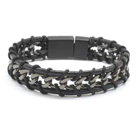 Tesbihane - Kararmaz Metal Zincir Örgülü Üç Sıra Siyah Deri-Çelik Kombinli Erkek Bileklik