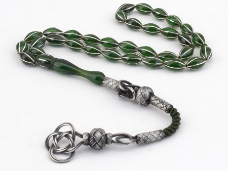 - Karpuz Dilim Gümüş İşlemeli Yeşil Sıkma Kehribar Tesbih