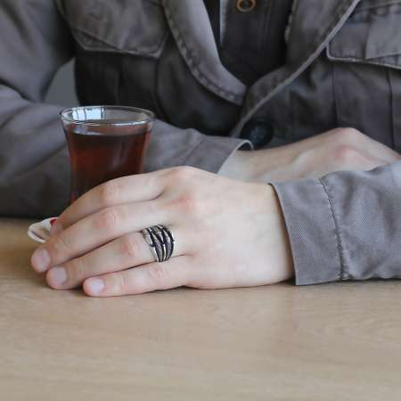 Kartal Pençe Tasarım 925 Ayar Gümüş Erkek Yüzük - Thumbnail