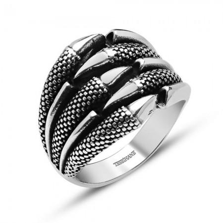 Tesbihane - Kartal Pençeli Özel Tasarım 925 Ayar Gümüş Yüzük