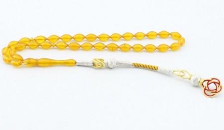 Tesbihane - Kazaz Püsküllü Arpa Kesim Sarı Renk Sıkma Kehribar Tesbih (KGPBR)