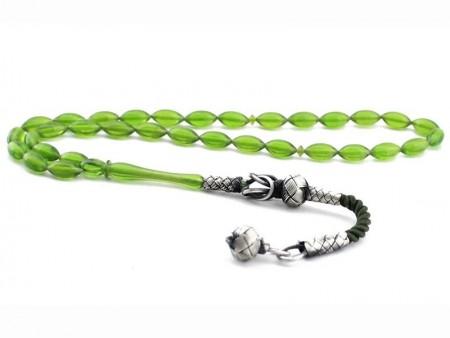 Tesbihane - Kazaz Püsküllü Arpa Kesim Yeşil Renk Sıkma Kehribar Tesbih (KGPBZ)