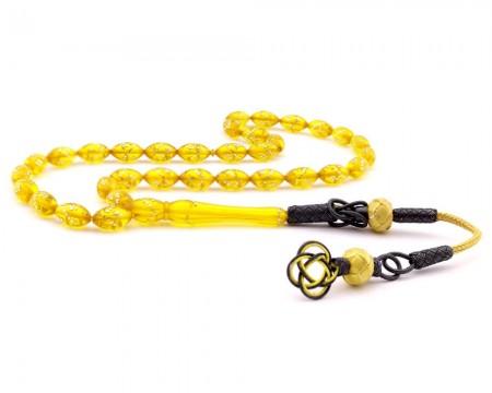 Tesbihane - Kazaz Püsküllü Gümüş İşlemeli Sarı Renk Sıkma Kehribar Tesbih