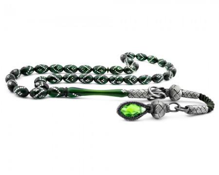 Tesbihane - Kazaz Püsküllü Gümüş İşlemeli Yeşil Sıkma Kehribar Tesbih