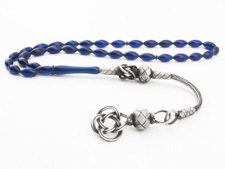 Tesbihane - Kazaz Püsküllü Mavi Renk Sıkma Kehribar Tesbih