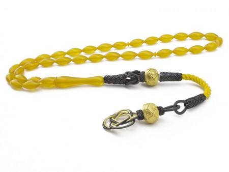 - Kazaz Püsküllü Sarı Renk Sıkma Kehribar Tesbih