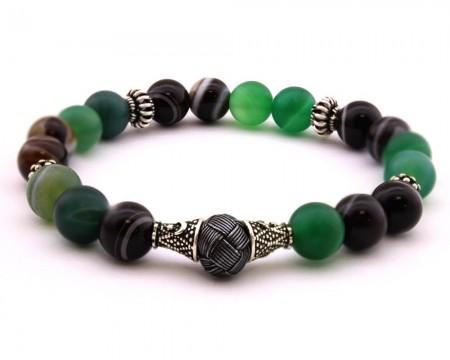 - Kazaz Süslemeli Akik Yeşil Siyah Renk Doğaltaş Bileklik