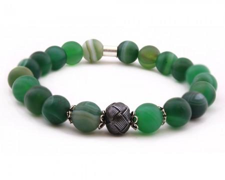 - Kazaz Süslemeli Yeşil Akik Doğaltaş Bileklik