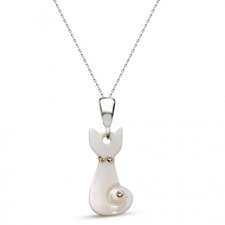 - Kedi Model Zirkon Taşlı Sedef Kolye (Gümüş Zincirli)(Model-2)
