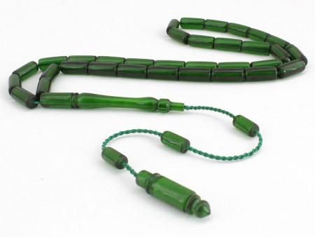 Tesbihane - Kesme Model Yeşil Sıkma Kehribar Tesbih