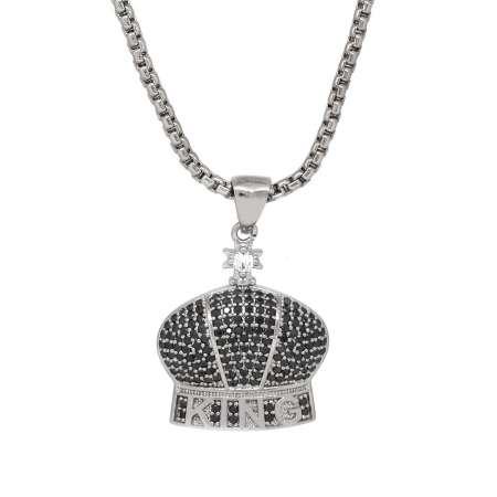 Tesbihane - King Tasarım Siyah Zirkon Taşlı Gümüş Renk Zincir Pirinç Kolye