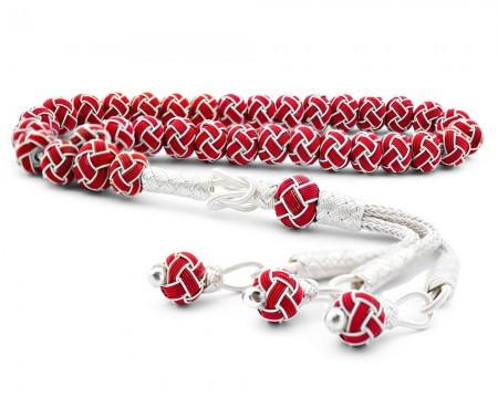 Tesbihane - Kırmızı Beyaz Kazaz El Örmesi Bilek Boy Gümüş Tesbih