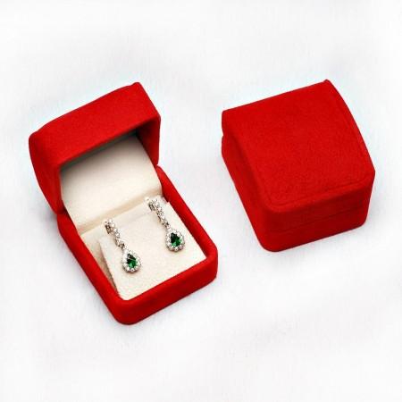 Tesbihane - Kırmızı Kadife Küpe Kolye Kutusu (model 2)