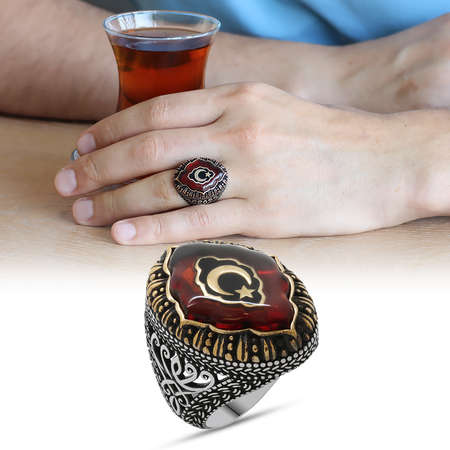 Tesbihane - Kırmızı Kehribar İçine Ayyıldız İşlemeli 925 Ayar Gümüş Erkek Yüzük